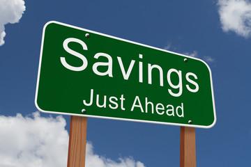 Savings Ahead Sign