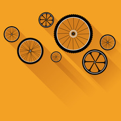 Bike wheels with flat shadow