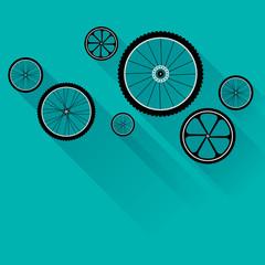 Bike wheels with flat shadow