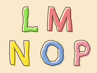 LMNOP colorful alphabet letters with bloated shape