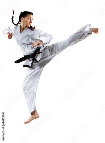Professional female karate fighter isolated on white - 74438261