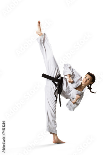 Foto op Aluminium Vechtsport Professional female karate fighter isolated on white