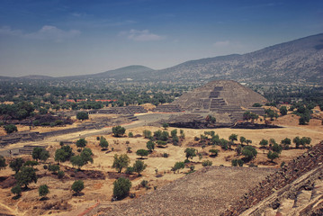 Pyramid of the Moon, Teotihuacan, Mexico, mountains