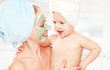 family beauty treatment in  bathroom mask for face skin