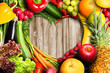 canvas print picture - Vegetables and Fruit Heart Shaped