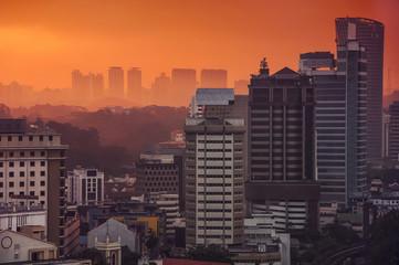 Sunset over Kuala Lumpur skyscrapers, Malaysia