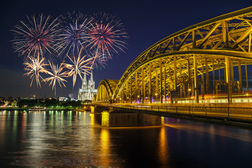 Fireworks Celebration at Cologne Cathedral , Germany