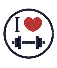 I love fitness vector illustration, eps10, easy to edit