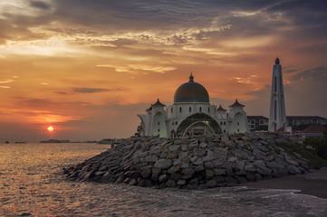 Malacca Straits Mosque at sunset, Malaysia
