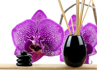 Subtle spa wellness background with orchid flowers!