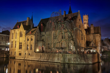 Canals and old buildings of Bruges, Belgium