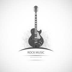 Label with the guitar. Vector icon.
