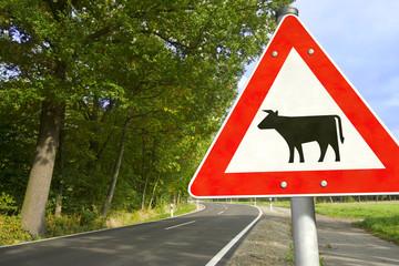 Straße mit Verkehrsschild Achtung Viehbetrieb