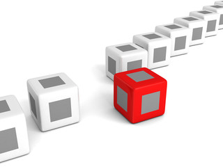 individuality red cube out from white crowd