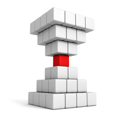 different individual leader red cube of pyramid group