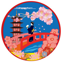 京の橋と花々  sakura,cherry,kyoto,geisya,Japan