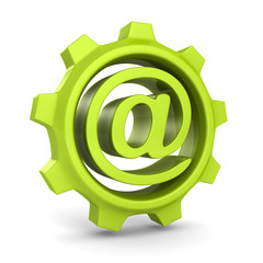 green cogwheel gear with e-mail at symbol
