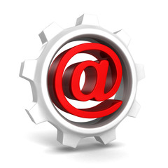 white gear with red e-mail at symbol