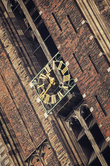 Close view of the clock at Dom Tower in Utrecht, Netherlands