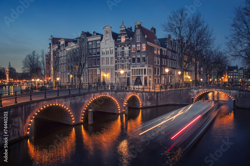 Deurstickers Amsterdam Amsterdam, Netherlands canals. Night view of Keizersgracht