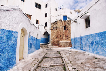 Streets of Kasbah of the Udayas in Rabat,  Morocco