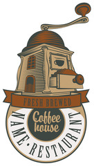 emblem for a cafe or restaurant with a coffee grinder