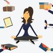 Businesswoman doing yoga