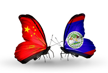 Two butterflies with flags  China and  Belize