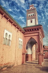 Minaret of an old Mosque in berber town Ouarzazate, Morocco