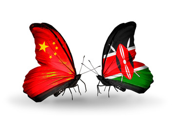 Two butterflies with flags China and Kenya
