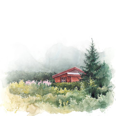 Watercolor landscape. Illustration of house and mountains