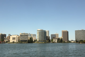 Oakland California skyline view Lake Merritt
