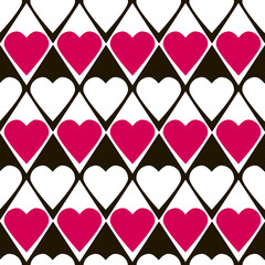 Geometrical valentines day seamless pattern with hearts
