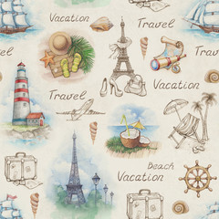 Travel illustrations. Seamless pattern
