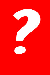 Abstract: big interrogative mark isolated on red background