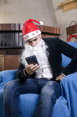 Young man with Santa costume