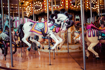 Old French carousel in a holiday park.