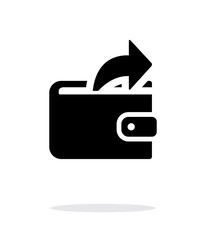 Outgoing payment from wallet icon on white background.