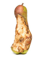 bitten spoil pear.  white background.