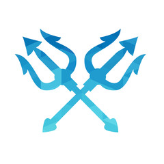 Blue triangle trident. Isolated background