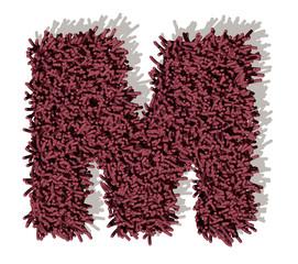 M lettera tappeto microfibra 3d, isolata su sfondo bianco