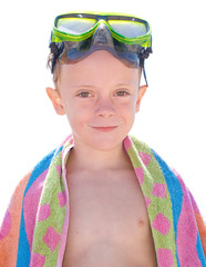 kid with diving glasses