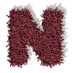 N lettera tappeto microfibra 3d, isolata su sfondo bianco