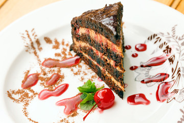 caramel cake with cherry
