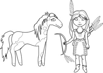 Coloring with Indian girl and  Horse