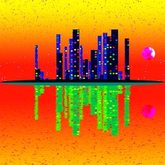 Cityscape with buildings on island. Thermography colors.