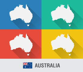 Australia world map in flat style with 4 colors.
