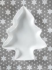 White christmas tree-shaped plate