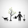 Gardener and sapling