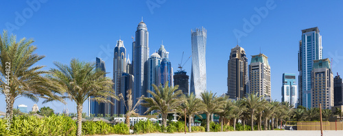 Aluminium Midden Oosten Panoramic view of skyscrapers and jumeirah beach
